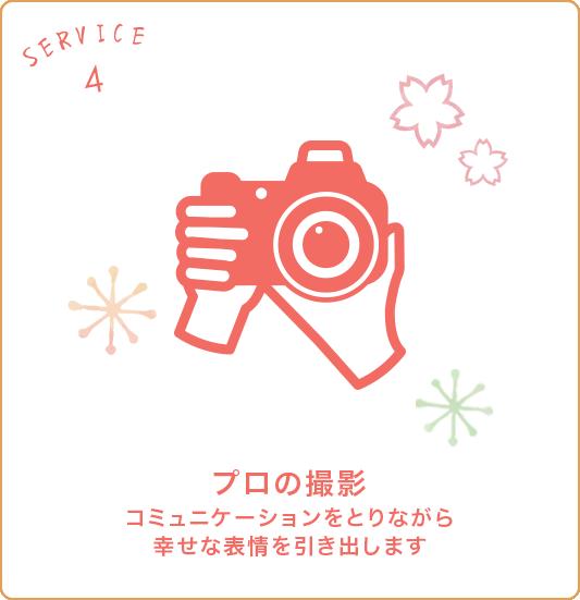 サービス4 プロの撮影 コミュニケーションを取りながら幸せな表情を引き出します