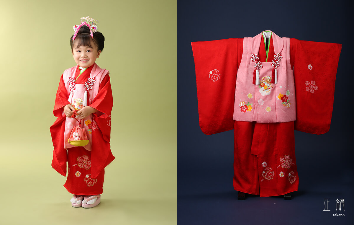 三歳 ピンク被布緋色(赤)正絹